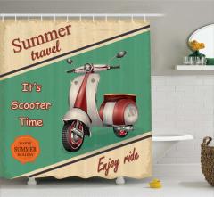 Retro Poster Temalı Duş Perdesi Scooter Yeşil Bej