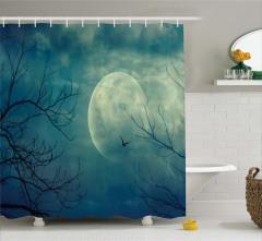 Dolunay ve Ağaç Temalı Duş Perdesi Gökyüzü Kuş Mavi