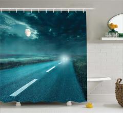 Mavi Gece ve Yol Temalı Duş Perdesi Ay Araba Far