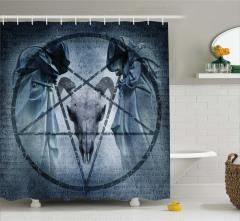 Şeytan ve Koç Temalı Duş Perdesi Gri Siyah Korkunç
