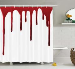 Kan Damlası Temalı Duş Perdesi Kırmızı Beyaz Korku