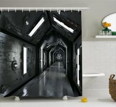 Uzay Gemisi Temalı Duş Perdesi Gri Siyah 3D Etkili