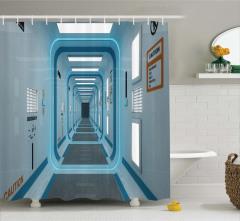 Fütüristik Koridor Temalı Duş Perdesi Mavi Uzay