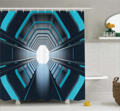 Mavi Işıklı Tünel Temalı Duş Perdesi Siyah Uzay