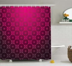 Geometrik Desenli Duş Perdesi Bordo Şık Tasarım
