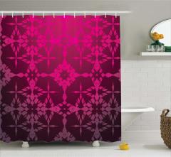 Bordo Geometrik Desenli Duş Perdesi Şık Tasarım