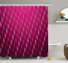 Geometrik Desenli Duş Perdesi Bordo Mor Şık Tasarım