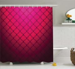 Geometrik Desenli Duş Perdesi Dekoratif Kırmızı Şık