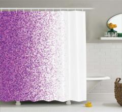 Mozaik Desenli Duş Perdesi Mor Şık Tasarım Trend
