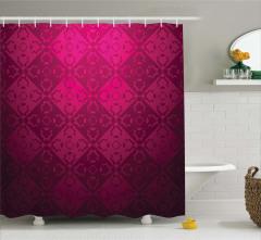 Geometrik Desenli Duş Perdesi Kırmızı Şık Tasarım