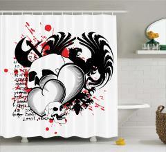 Şık Kartal ve Kuru Kafa Desenli Duş Perdesi Kalp