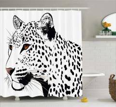 Siyah Beyaz Leopar Desenli Duş Perdesi Şık Tasarım