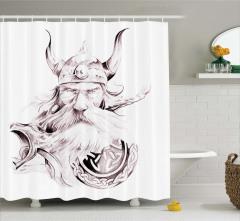 Viking ve Kalkan Desenli Duş Perdesi Siyah Beyaz