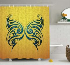 Mavi Kelebek Desenli Duş Perdesi Duvar Kağıdı Etkili