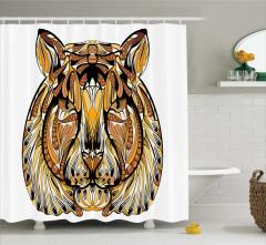 Şık Rengarenk Aslan Desenli Duş Perdesi Şal Efektli