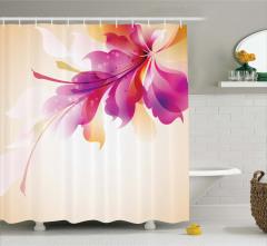Krem Fonlu Çiçek Desenli Duş Perdesi Mor Turuncu