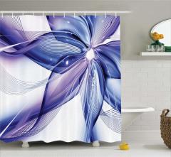Lacivert Mor Çiçek Desenli Duş Perdesi Cam Efektli