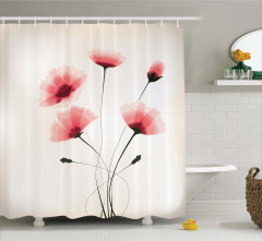 Pembe Zarif Çiçek Desenli Duş Perdesi Şık Çeyizlik
