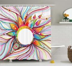Rengarenk Güneş ve Dalga Desenli Duş Perdesi Şık