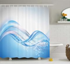 Mavi Beyaz Dalga Desenli Duş Perdesi Petek Efektli