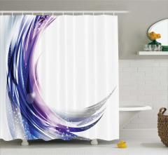 Mor Lacivert Girdap Desenli Duş Perdesi Fırça Etkili