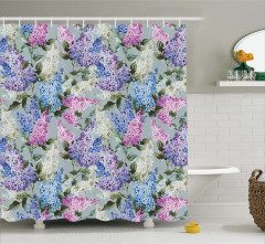 Çiçek Desenli Duş Perdesi Mavi Pembe Şık Tasarım