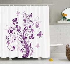 Ağaç ve Kelebek Desenli Duş Perdesi Mor Çeyizlik