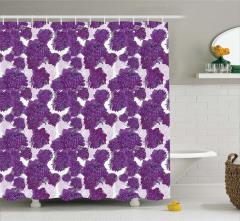 Mor Çiçek Desenli Duş Perdesi Şık Tasarım Trend