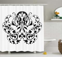 Siyah Beyaz Ahtapot Desenli Duş Perdesi Şık Tasarım