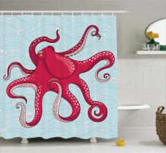 Kırmızı Ahtapot Desenli Duş Perdesi Mavi Şık Tasarım