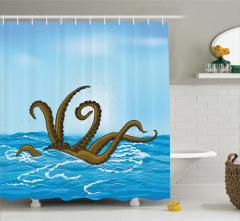 Canavar Ahtapot ve Deniz Temalı Duş Perdesi Mavi