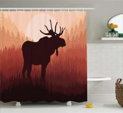 Ormandaki Geyik Desenli Duş Perdesi Kahverengi Şık