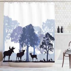 Geyik ve Orman Temalı Duş Perdesi Gri Şık Tasarım