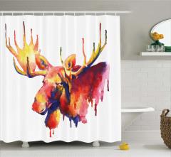 Geyik Kafası Portreli Duş Perdesi Rengarenk Şık
