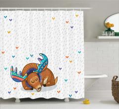 Geyik Desenli Duş Perdesi Çocuk İçin Şık Tasarım
