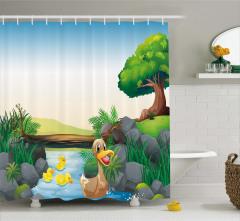 Yüzen Ördekler Desenli Duş Perdesi Yeşil Çocuk İçin