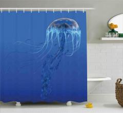 Mavi Denizanası Temalı Duş Perdesi Su Altı Doğa