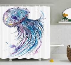 Mavi Denizanası Desenli Duş Perdesi Şık Tasarım