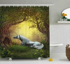 Perili Orman Temalı Duş Perdesi Unicorn Yeşil Şık