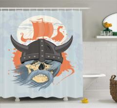 Viking Gemisi Temalı Duş Perdesi Mavi Nostaljik