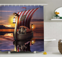 Viking Gemisi Desenli Duş Perdesi Masal Temalı Mavi