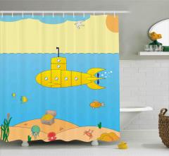 Deniz Altı Desenli Duş Perdesi Sarı Mavi Çocuk İçin