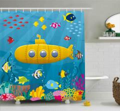 Sarı Deniz Altı Desenli Duş Perdesi Balık Mavi Şık