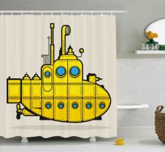 Sarı Deniz Altı Desenli Duş Perdesi Çocuklar İçin
