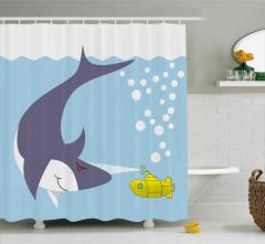 Köpek Balığı ve Deniz Altı Desenli Duş Perdesi Mavi