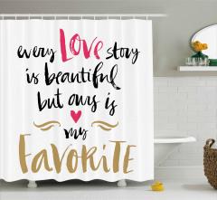 Aşk Temalı Duş Perdesi Sevgililer Günü İçin Trend