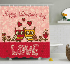 Aşık Baykuşlar Temalı Duş Perdesi Pembe Kırmızı Şık
