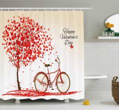 Sevgililere Özel Duş Perdesi Kırmızı Kalp Aşk Temalı