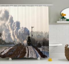 Nostaljik Tren Temalı Duş Perdesi Duman Beyaz Kar
