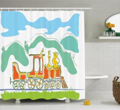 Çocuklar İçin Duş Perdesi Sihirli Tren Temalı Yeşil
